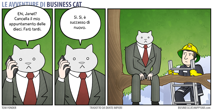 Business Cat Running Late